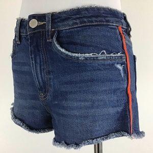 Zara MidRise Raw Hem Red Stripe Jean Shorts 2